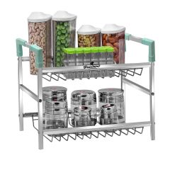 PALOMINO Stainless Steel Rack Container Organiser / Basket For Home and Kitchen (2-Tier) (Silver)