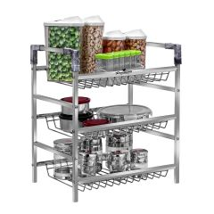 PALOMINO Stainless Steel Rack Container Organiser / Basket For Home and Kitchen (3-Tier) (Silver)