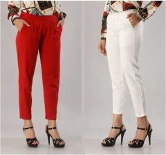 Fearless Fashion Formal Occasion And Regular Fit Cotton Blend Trousers For Women (Red & White) (Pack of 2)