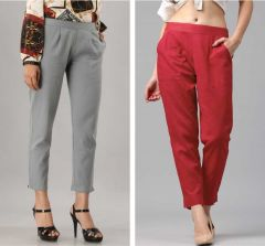 Fearless Fashion Party Occasion And Regular Fit Cotton Blend Trousers For Women (Red & Grey) (Pack of 2)