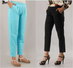 Fearless Fashion Casual Occasion And Regular Fit Cotton Blend Trousers For Women (Black & Sky Blue) (Pack of 2)
