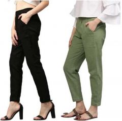 Fearless Fashion Regular Fit Women White Cotton Blend Trousers For Party Occasion (Pack of 2)