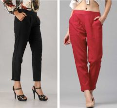 Fearless Fashion Casual Occasion And Regular Fit Cotton Blend Trousers For Women (White & Red) (Pack of 2)