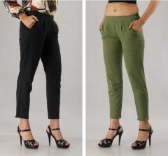 Fearless Fashion Casual Occasion And Regular Fit Cotton Blend Trousers For Women (Black& Light Green) (Pack of 2)