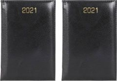 Toss 2021 A6 Diary Ruled 330 Pages Perfect For Gift (Black) (Pack of 2)