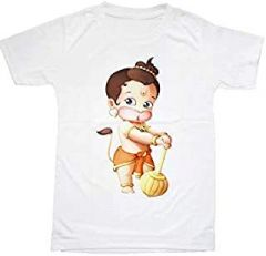 Lord Hanuman Printed T-Shirts Round Neck Half-Sleeves Regular Fit for Kids (Pack of 1)