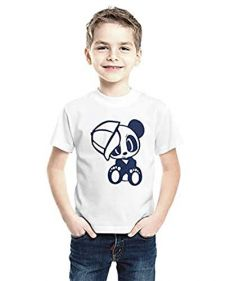 Panda Printed T-Shirts Round Neck Half-Sleeves Regular Fit for Kids (White) (Pack of 1)