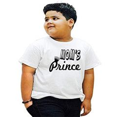 Moms Prince Printed T-Shirts Round Neck Half-Sleeves Regular Fit for Kids (Pack of 1)