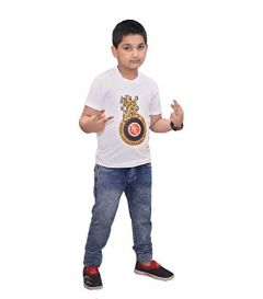 RCB Printed T-Shirts Round Neck Half-Sleeves Regular Fit for Kids (Pack of 1)