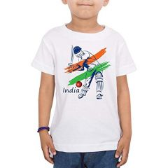 Cricketer Printed T-Shirts Round Neck Half-Sleeves Regular Fit for Kids (Pack of 1)