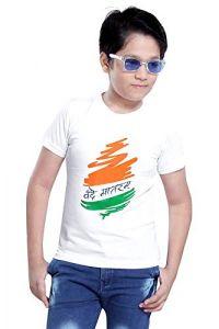 Vande-Matram Printed T-Shirts Round Neck Half-Sleeves Regular Fit for Kids (Pack of 1)