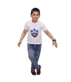 Delhi Capitals Printed T-Shirts Round Neck Half-Sleeves Regular Fit for Kids (Pack of 1)