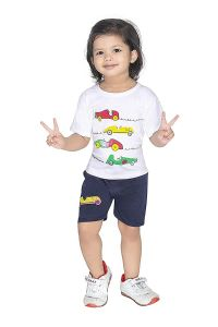 Baby Car Printed T-Shirts Round Neck Half-Sleeves Regular Fit for Kids (Pack of 1)