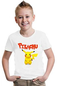 Pikachu Printed T-Shirts Round Neck Half-Sleeves Regular Fit for Kids (Pack of 1)