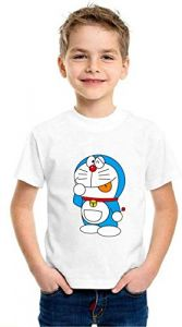 Doremon Printed T-Shirts Round Neck Half-Sleeves Regular Fit for Kids (Pack of 1)