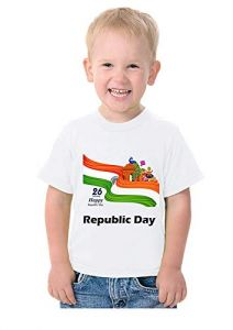 Republic Day Printed T-Shirts Round Neck Half-Sleeves Regular Fit for Kids (Pack of 1)
