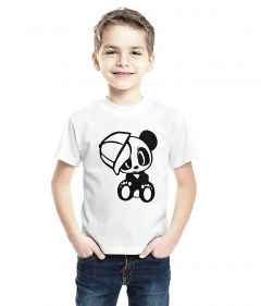 Panda Printed T-Shirts Round Neck Half-Sleeves Regular Fit for Kids (Pack of 1)