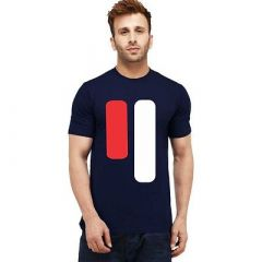 Printed Cotton Round Neck Short Sleeves Casual T-Shirt For Men's (Navy Blue) (Pack of 1)