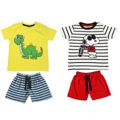 Cotton Fabric T-Shirts with Shorts of Printed Style Ideal for Kids & Boys (Pack of 2)
