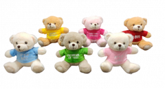 Shree Sai Durga | Cute Teddy Bear Toy Gift For Toddlers and Kids | Huggable Teddy Bear with T-Shirt | (Multi-Color) (Pack of 1)