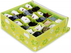 Homeoculture Green Undergarment Organizer Drawer with Lid Standard 24 Compartments