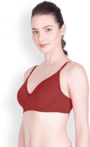 Women Full Coverage, Seamed, Non-Padded Hosiery Bra (Red) (Pack of 1)