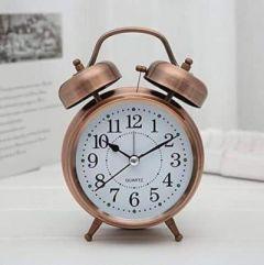 VRENTERPRISE Large Size Twin Bell Golden Clock (Pack of 1)