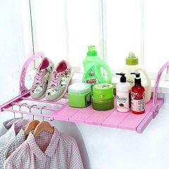 VRENTERPRISE Balcony Drying Rack Towel Holder (Pink) (Pack of 1)