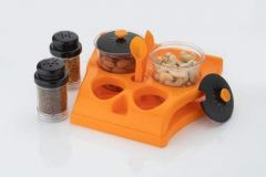VRENTERPRISE Multipurpose Dining Stand with 4 Pcs Container Unbreakable Spice Set (Pack of 1)