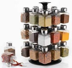 VRENTERPRISE Square Spice Glass Jar with Flip Lid (Pack of 16)