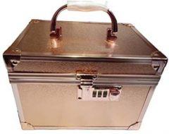 Flikerway Metalic Gold Trousseau Number Lock System Makeup & Jewellery Cosmetic Vanity Box (Rose Gold) (Pack of 1)