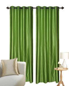 Stylish Solid Semi Blackout Curtain Set of 2 (Light Green)