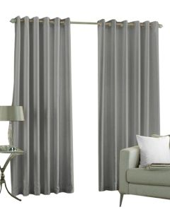 Trendy & Solid Semi Blackout Curtain Set of 2 (Silver-9ft)