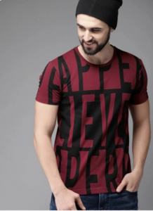 Graphic Printed Text Pattern Round Neck Half Sleeves Cotton Tees For Men's (Maroon)