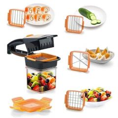 ANJA 5 in 1 Multipurpose Vegetable & Fruit Slicer, Cutter Manual Dicer with Container Box