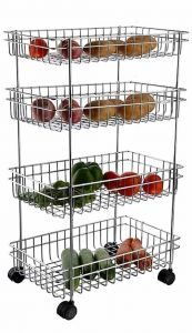 4 Layer Fruit and Vegetable Stand   Basket   Trolley Kitchen Storage Rack (29 H x 16 L x 9 W Inches) (Pack of 1)