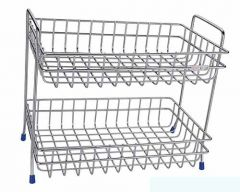 Double Layer Stainless Steel Fruit & Vegetable Stand   Trolly (Pack of 1)
