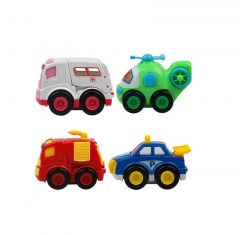 Push And Go Vehicles Toy With Openable Doors Features, Non Toxic Plastic Material (Pack Of 4)