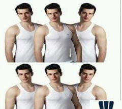 Regular Fit Solid Cotton Lux Venus Sleeveless Vest For Men's (White)