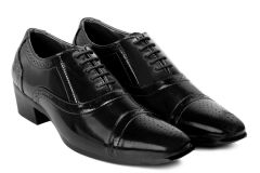 BXXY'S Height Increasing Faux Leather Lace-up British Semi Brogue Oxford Shoes For Men