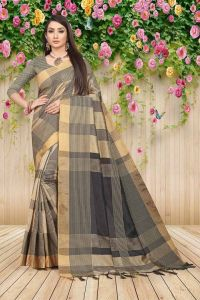 Paree Creation Designer and Traditional Checkered Cotton Silk Saree Woven Design Pallu with Blouse for Women's