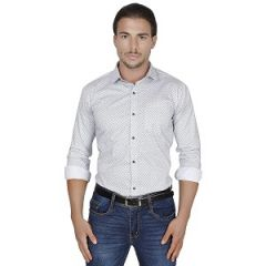 Mens Full Sleeve Cotton Shirt For Casual Wear (White)