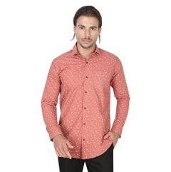 Casual Wear Printed Full Sleeve Smart Fit Men Shirt (Pink)