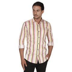 Strip Casual Wear Full Sleeve Shirt For Mens (White & Yellow)