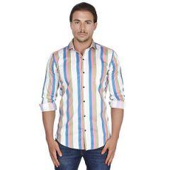 Strip Full Sleeve Cotton Shirt For Men (White & Green)