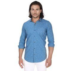 Trendy Full Sleeve Cotton Shirt For Men Shirt (Blue)