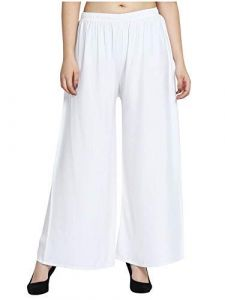 Jazbay Stylish & Fashionable Full Length Elastic 100% Pure & Soft Rayon Palazzo For Women In White Color (Free Size)