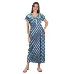 Kismat Fashion Hosiery Cotton Long Nighty - Green/Blue