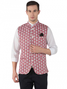Men's Fashionable and Stylish Printed Nehru Jacket Waistcoat For Party & Weddings Wear (Maroon) (Pack of 1)