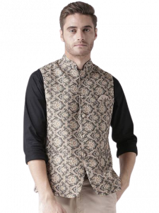 Men's Fashionable and Stylish Printed Nehru Jacket Waistcoat For Party & Weddings Wear (Grey) (Pack of 1)